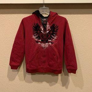 Boys Tony Hawk size L fleece lined zip up hoodie.